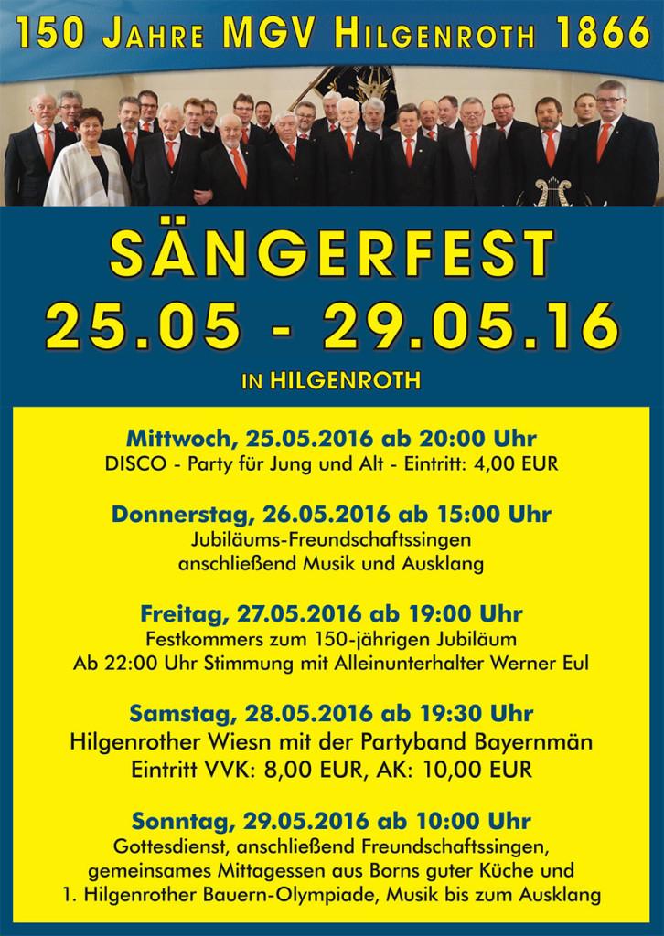 150 Jahre MGV Hilgenroth 1866 - Sängerfest
